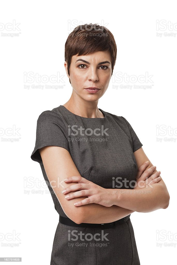 Serious Businesswoman in Gray Dress Isolated on White royalty-free stock photo