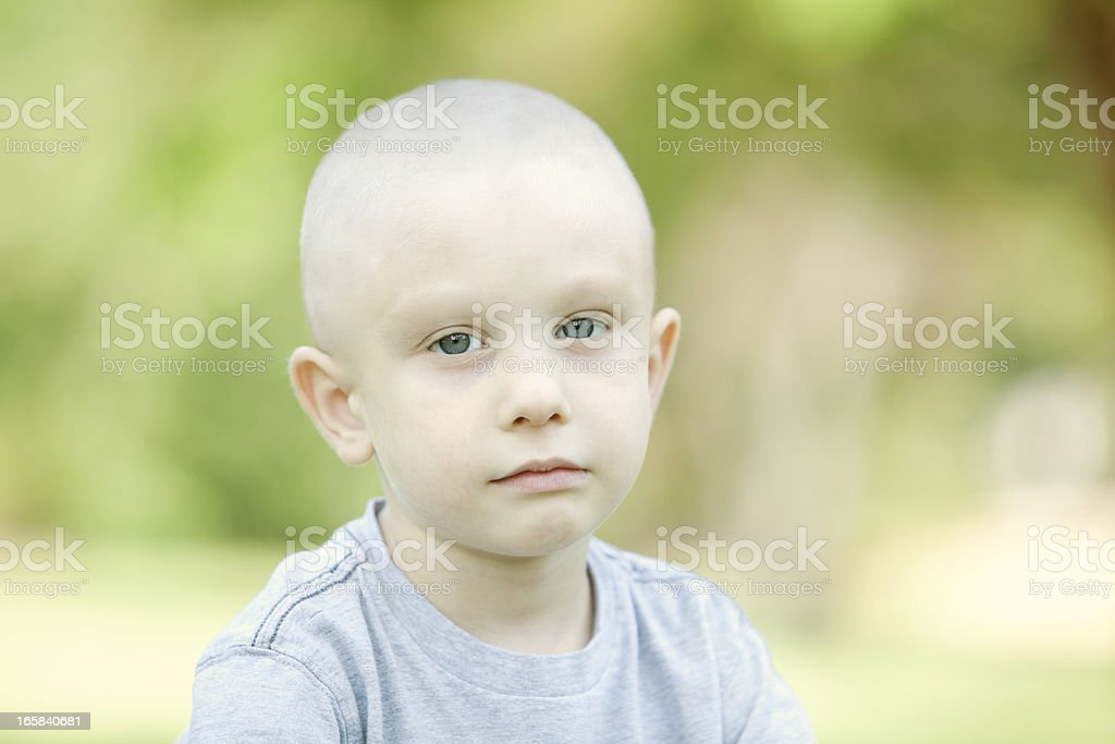 Serious Chemo Child Horizontal royalty-free stock photo