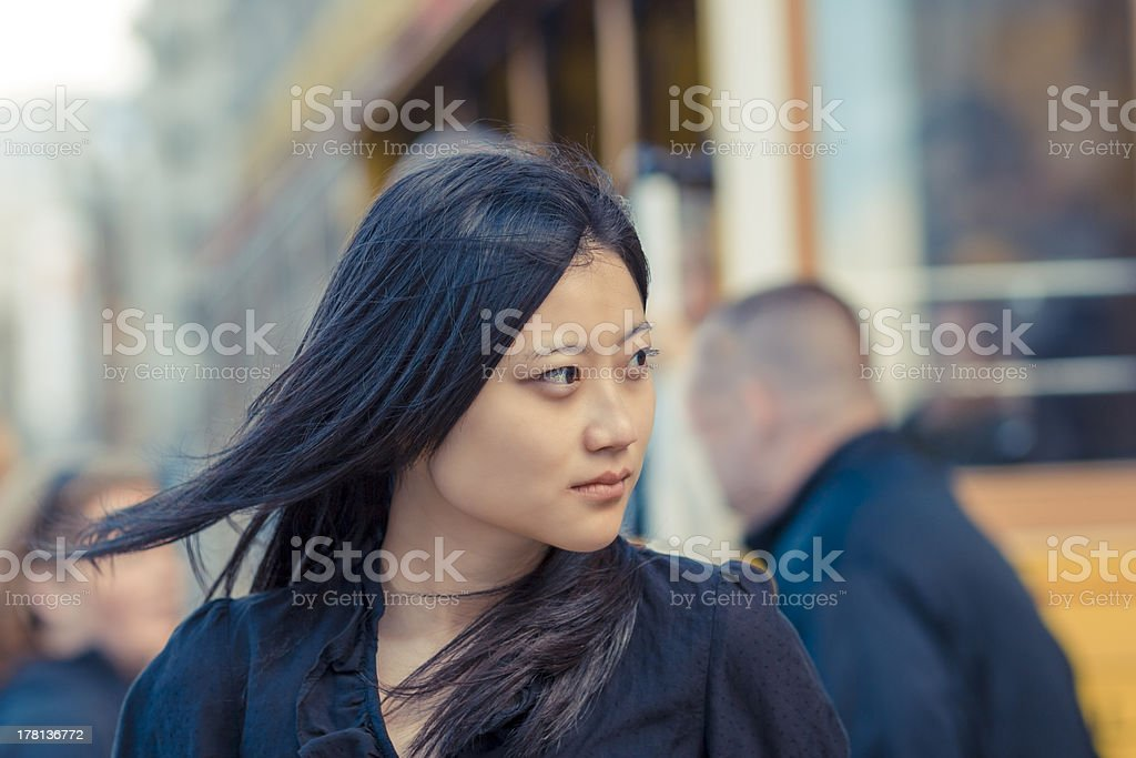 Serious Chinese woman in San Francisco CA royalty-free stock photo