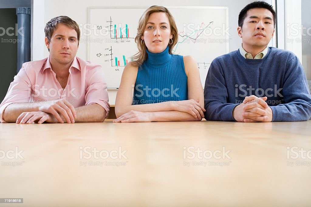 Serious colleagues stock photo