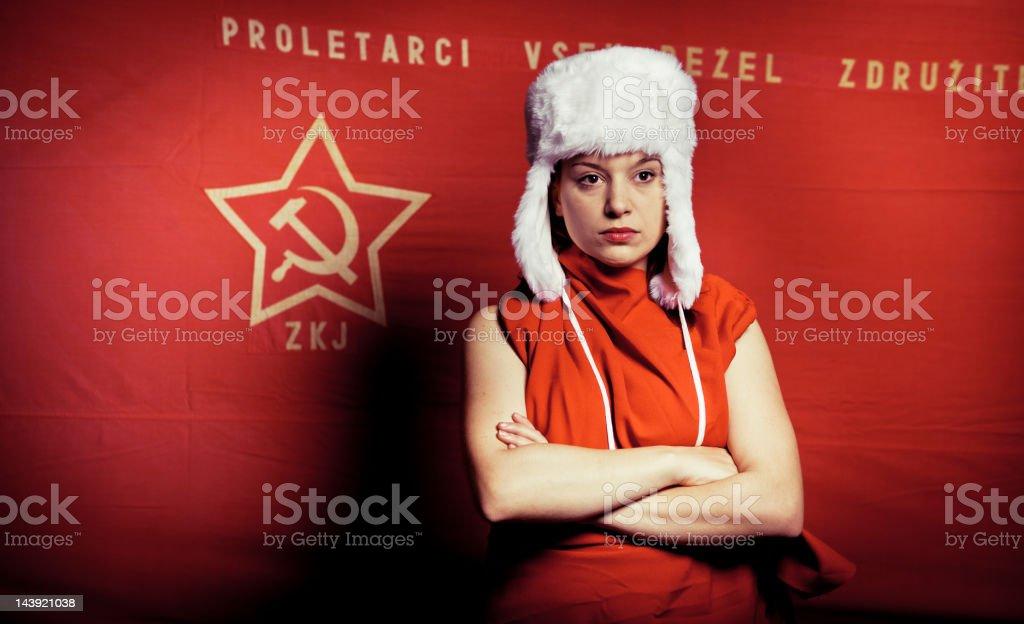 Serious communist woman stock photo