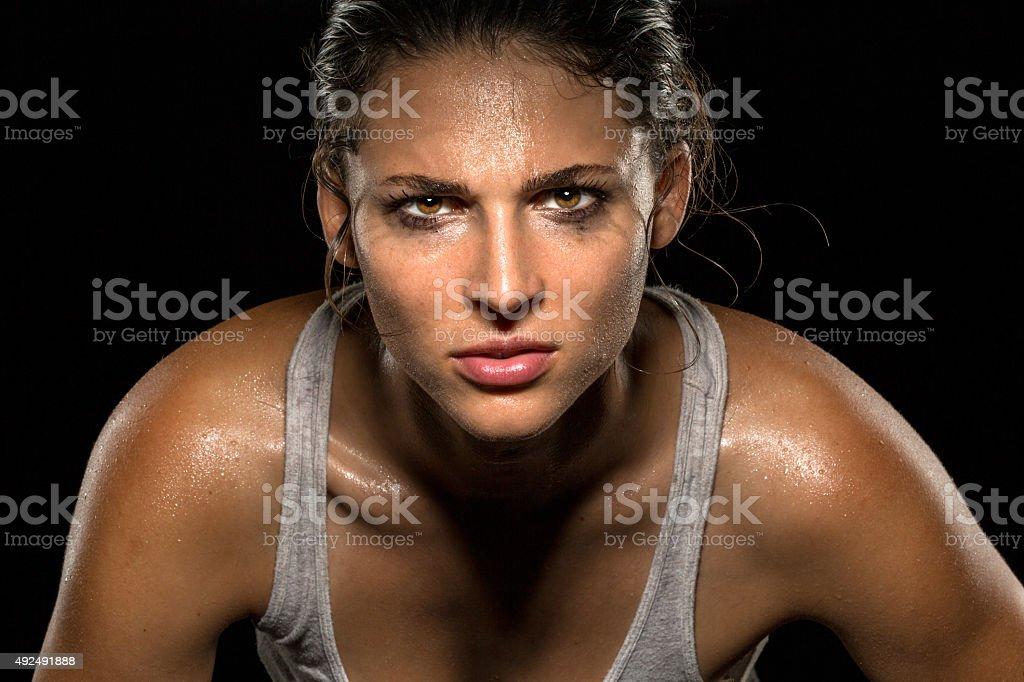 Serious confident stare athlete wrestler exercise trainer conviction focused powerful stock photo