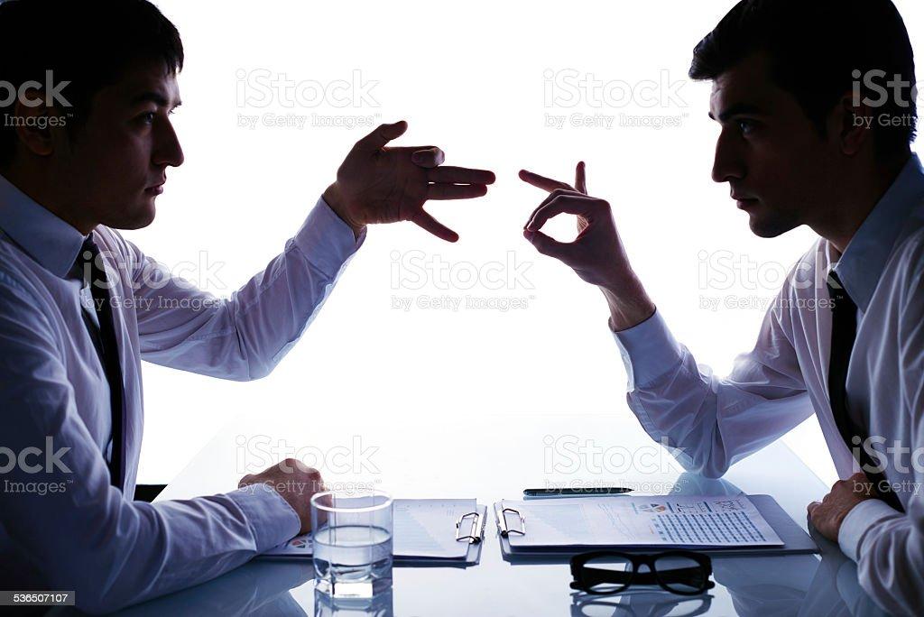 Serious confrontation stock photo