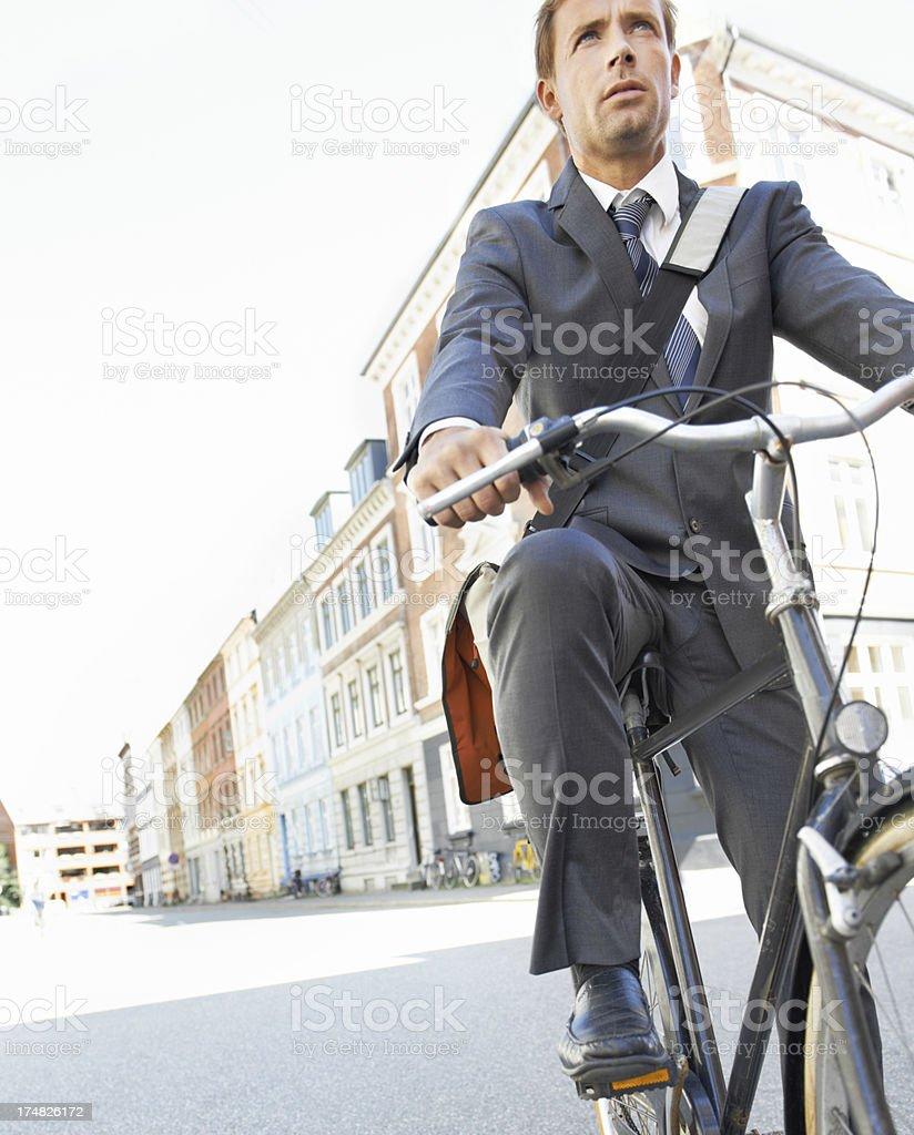 Serious cycler royalty-free stock photo