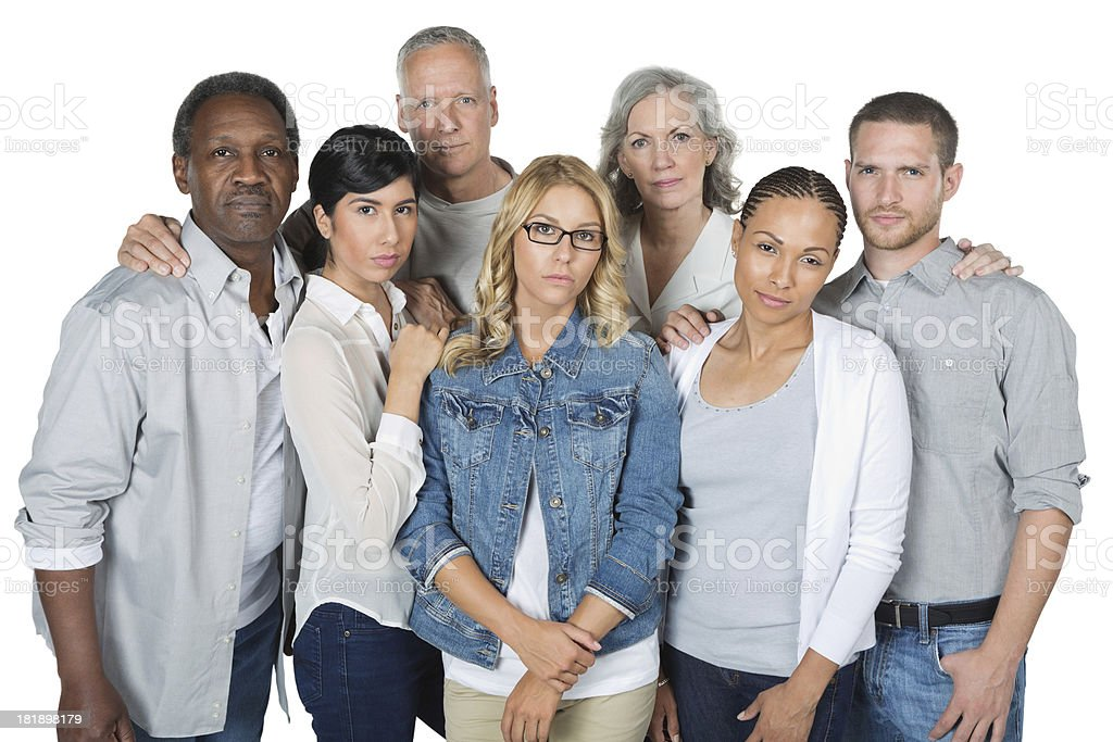 Serious diverse group of adults; studio shot stock photo