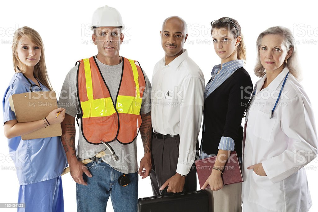 Serious Diverse Group of Various Professionals royalty-free stock photo