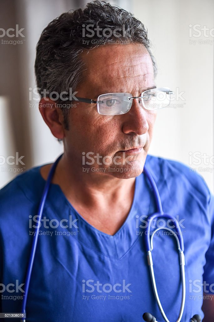 Serious doctor stock photo