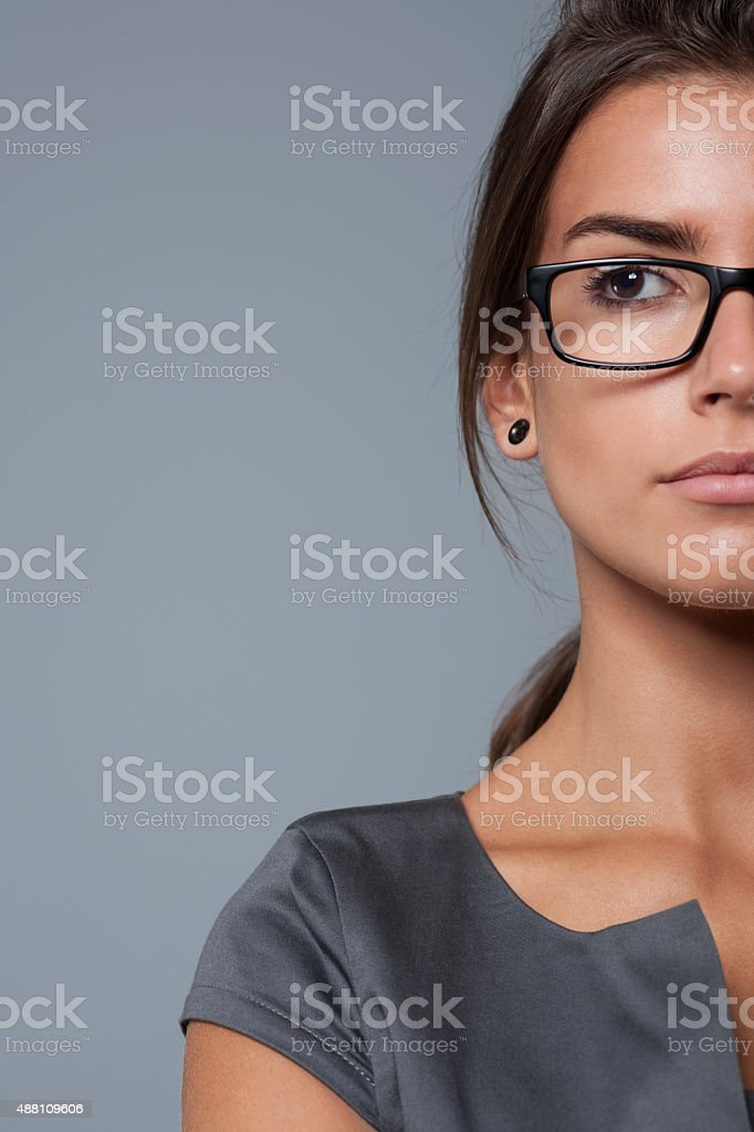 Serious face of global business stock photo