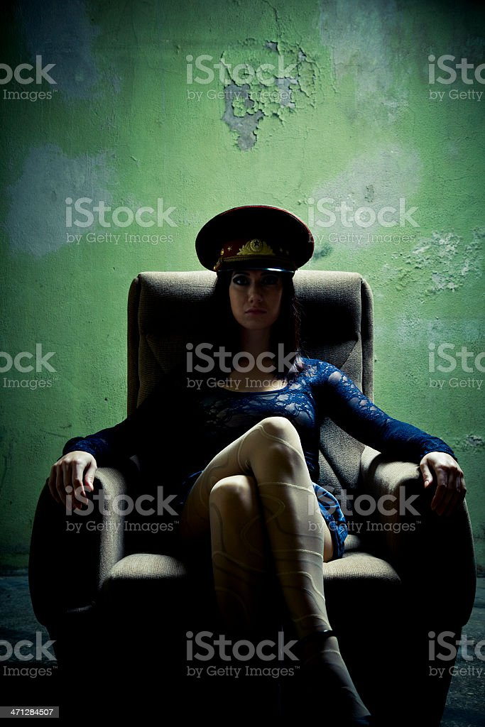 Serious fantasy Interrogation Officer stock photo