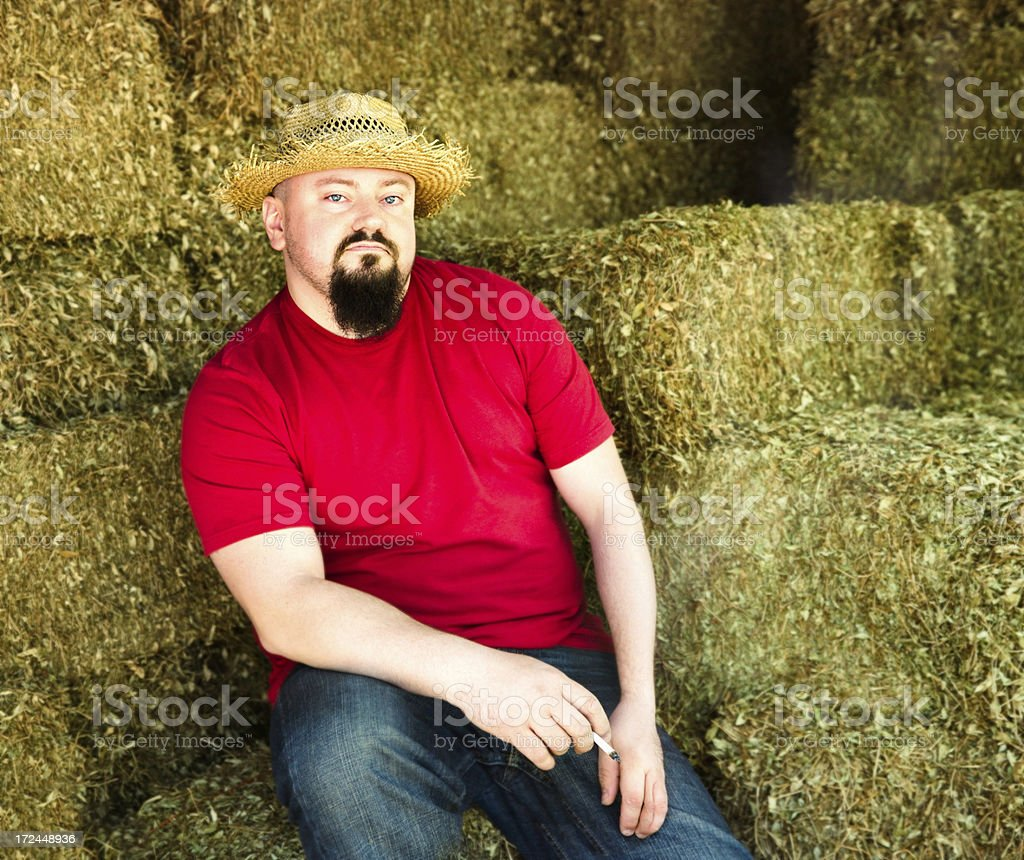 Serious Farm Worker smoking on haystack royalty-free stock photo