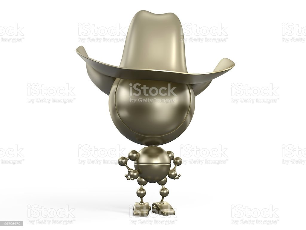 Serious golden figure of man royalty-free stock photo