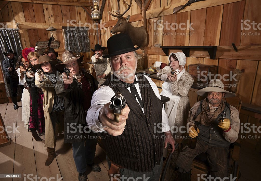 Serious Gunfighters stock photo