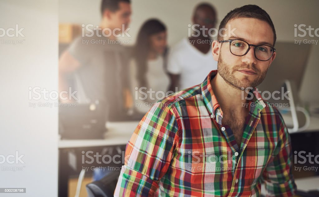 Serious handsome business owner stock photo