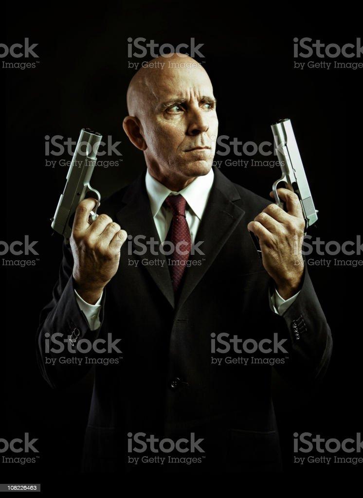 serious hitman stock photo