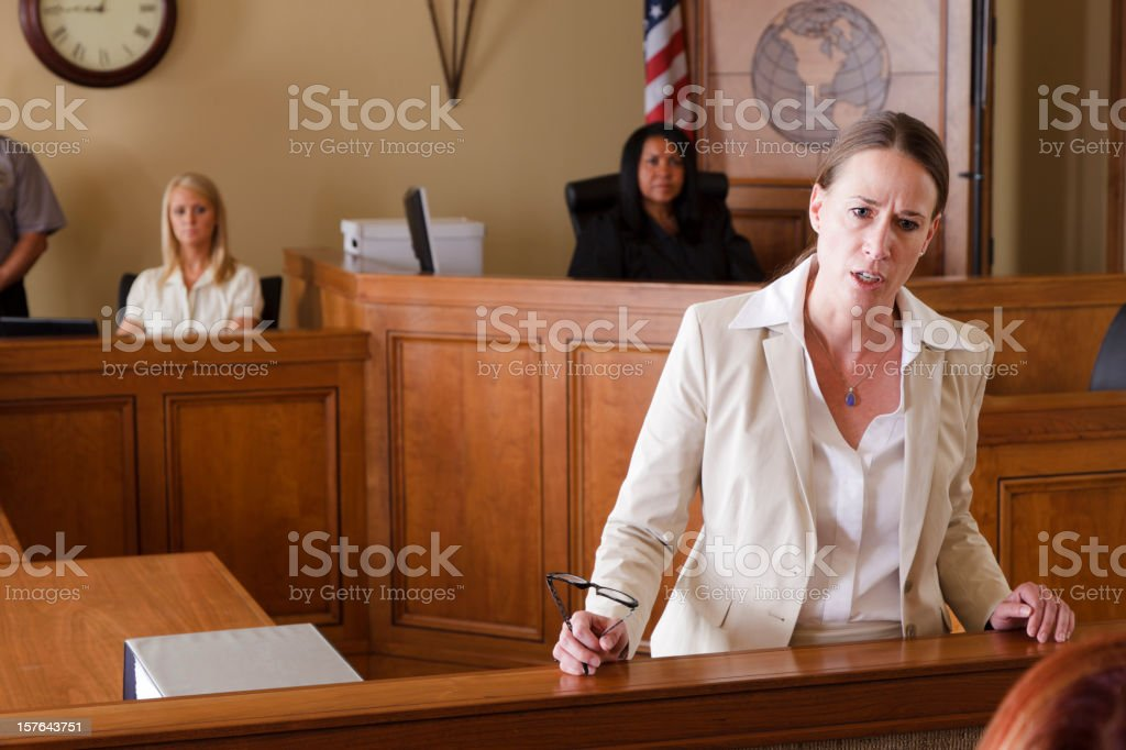 Serious Lawyer in Court stock photo