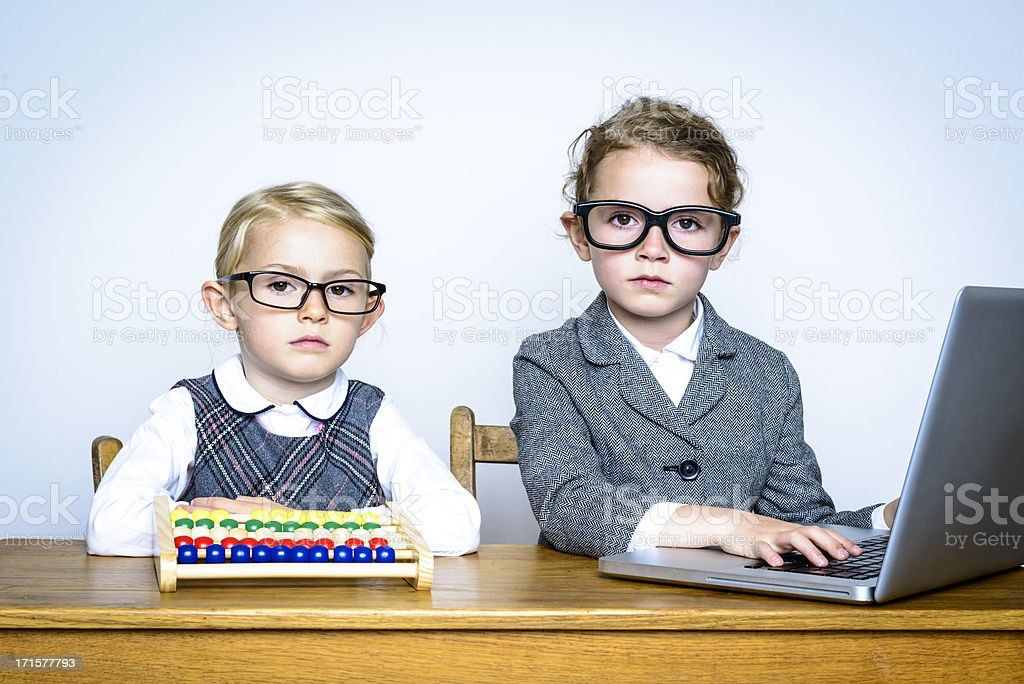 Serious Little Accountants royalty-free stock photo