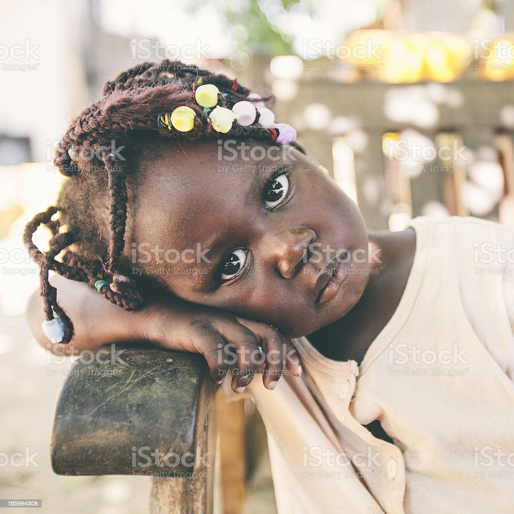 Serious looking african girl. royalty-free stock photo
