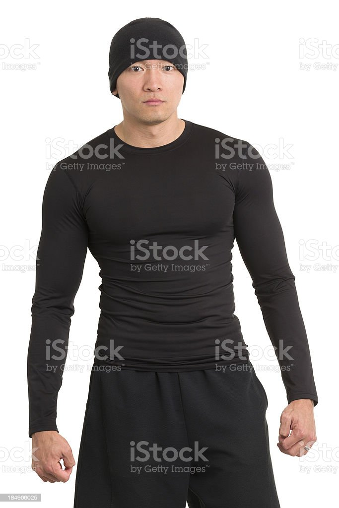 Serious Male Asian Athlete stock photo