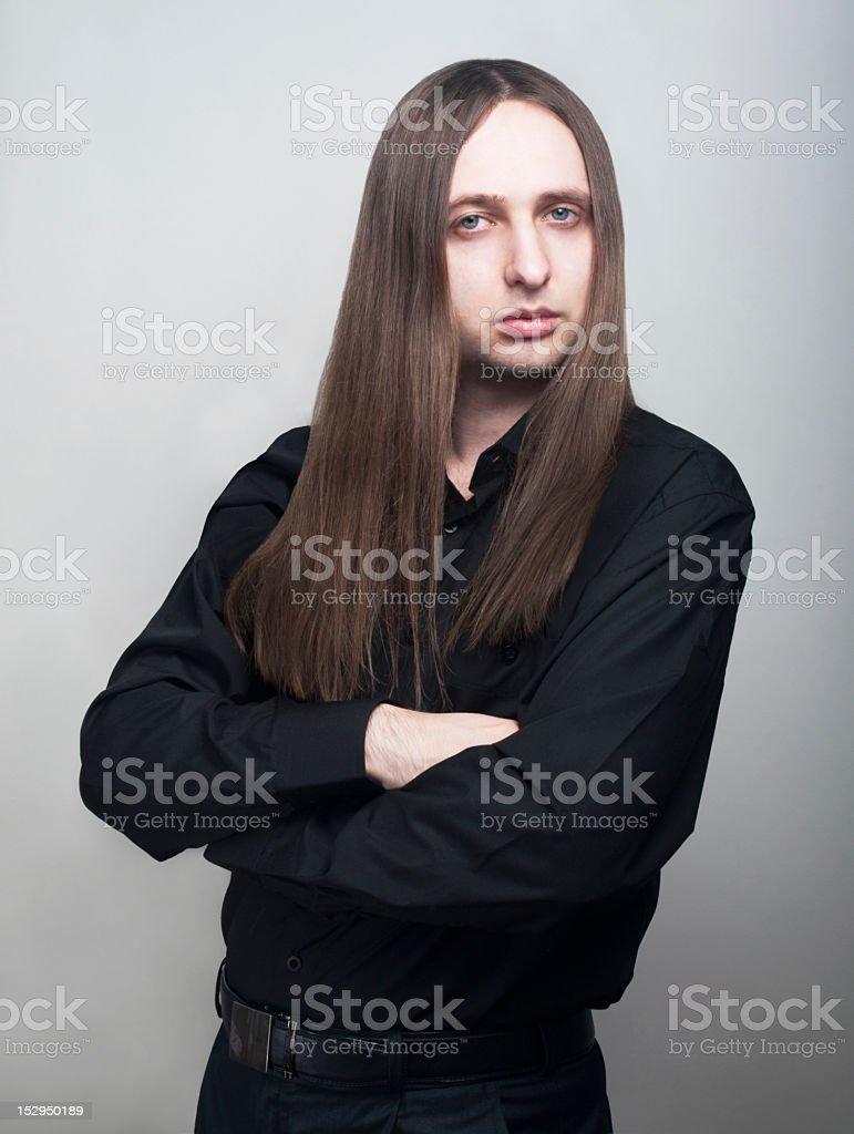 Serious man in black shirt royalty-free stock photo