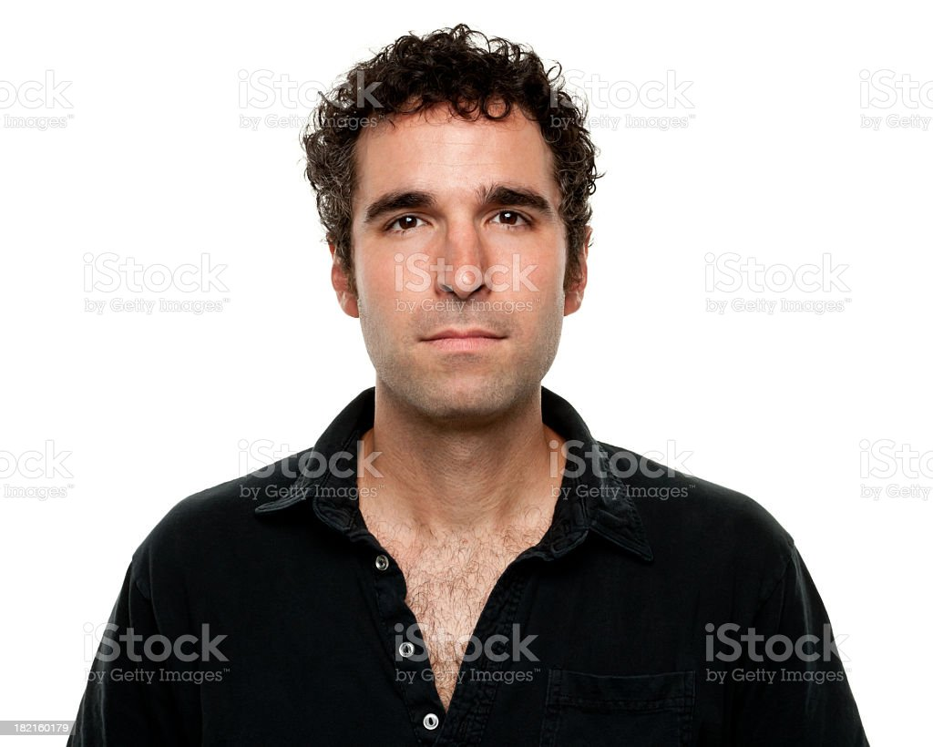 Serious man in black shirt portrait royalty-free stock photo