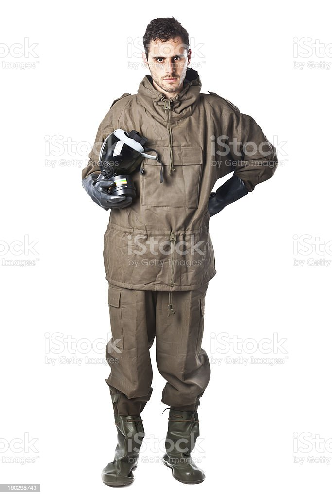 Serious Man in Hazard Suit royalty-free stock photo