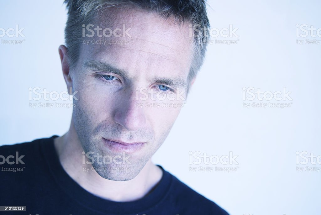 Serious Man Looking Pensive Portrait Close-Up royalty-free stock photo