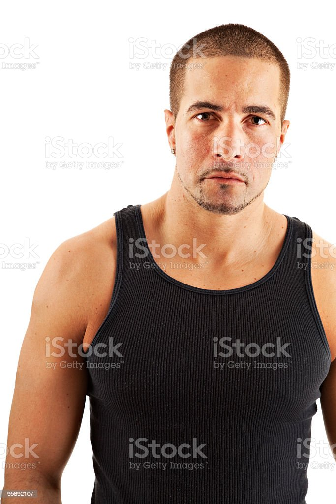 Serious man wearing tank top royalty-free stock photo