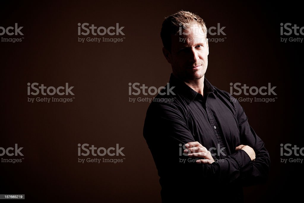 Serious Man with arm crossed royalty-free stock photo