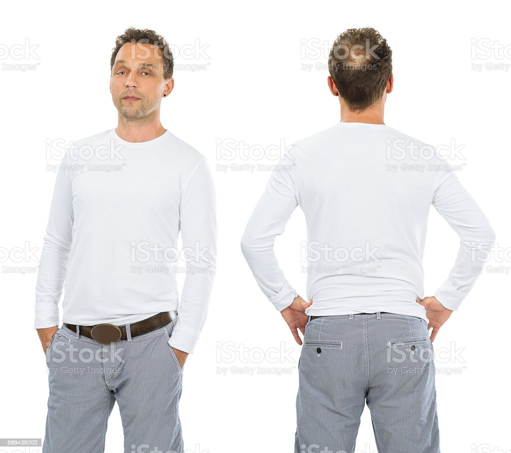 Serious man with blank white long sleeve shirt stock photo