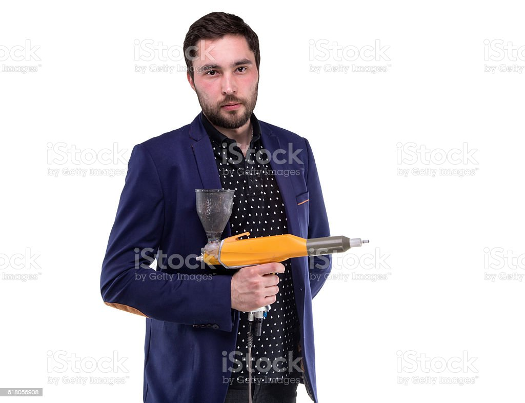 Serious man with powder gun stock photo