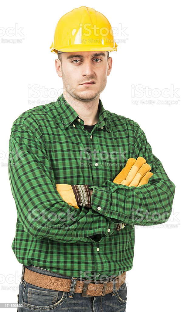 Serious Manual worker with helmet royalty-free stock photo