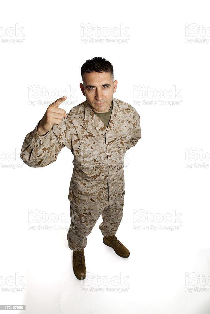 Serious Marine Pointing stock photo