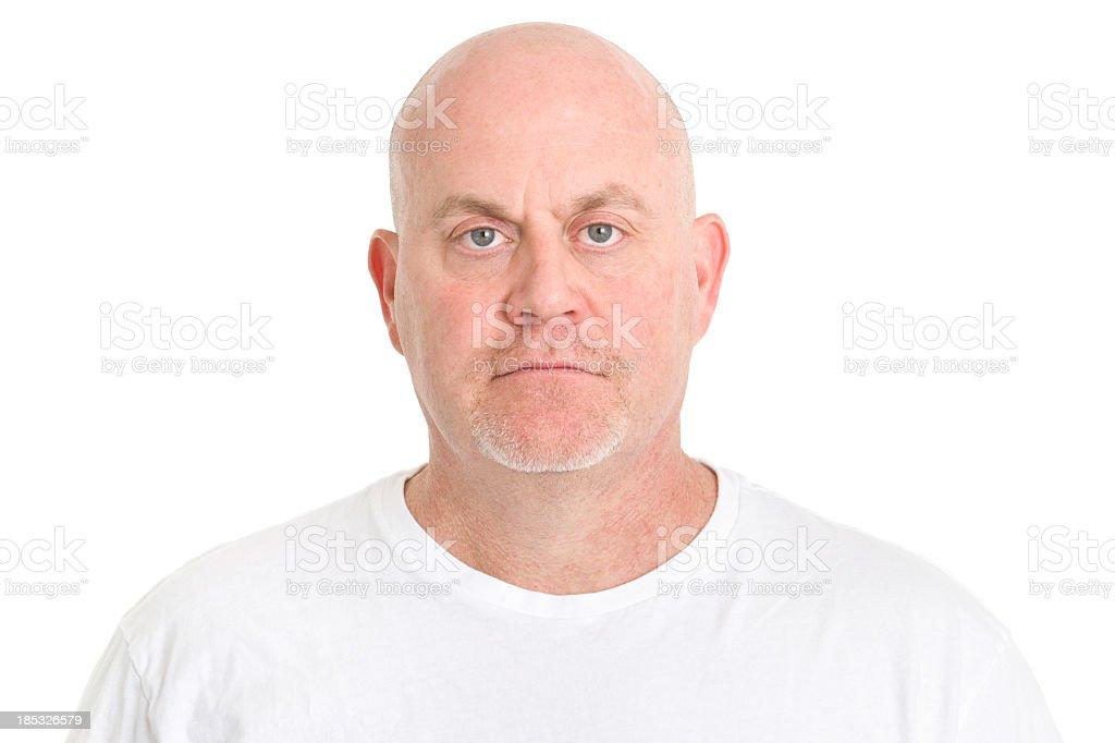 Serious Mature Man Mug Shot royalty-free stock photo