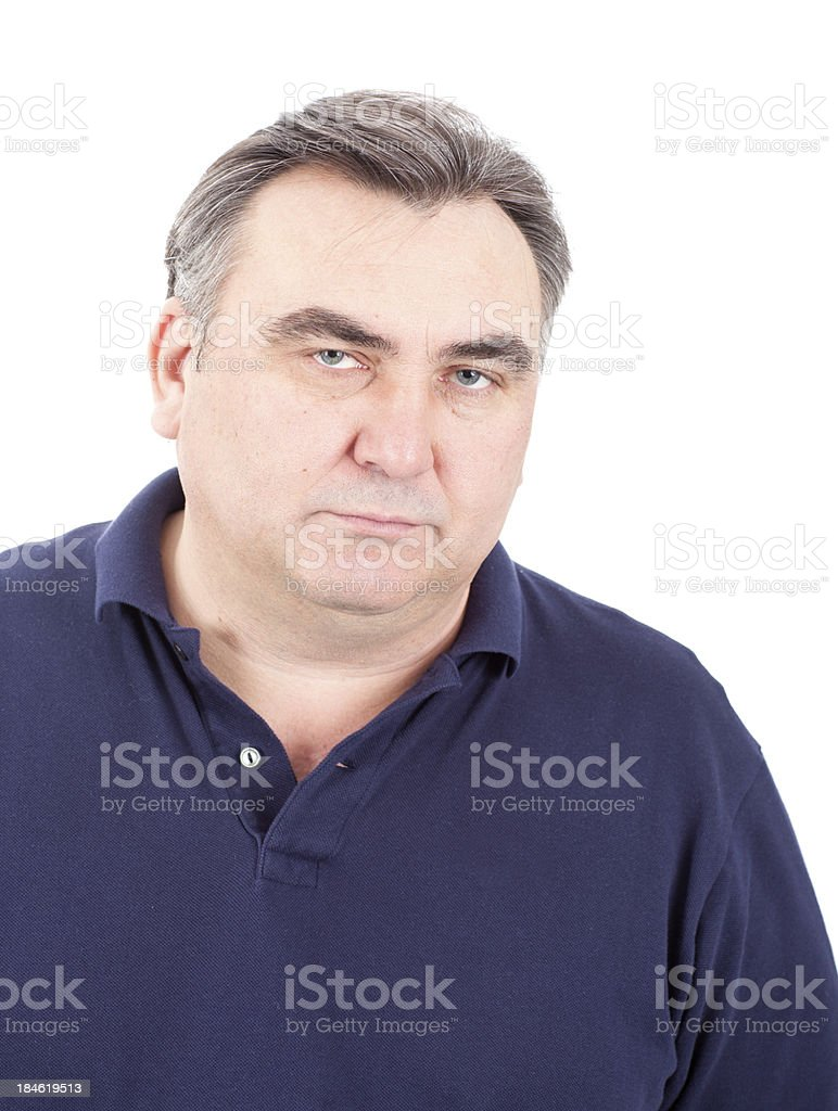 Serious mature man with sad expression royalty-free stock photo
