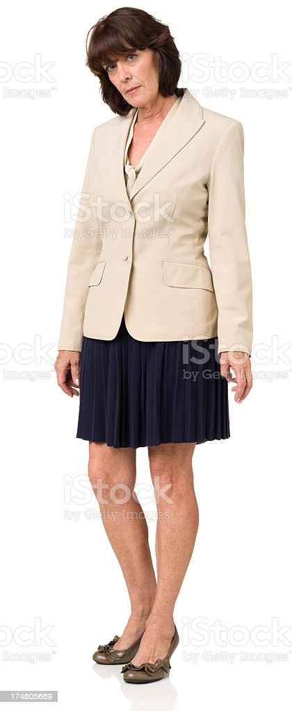 Serious Mature Woman Full Length Portrait royalty-free stock photo