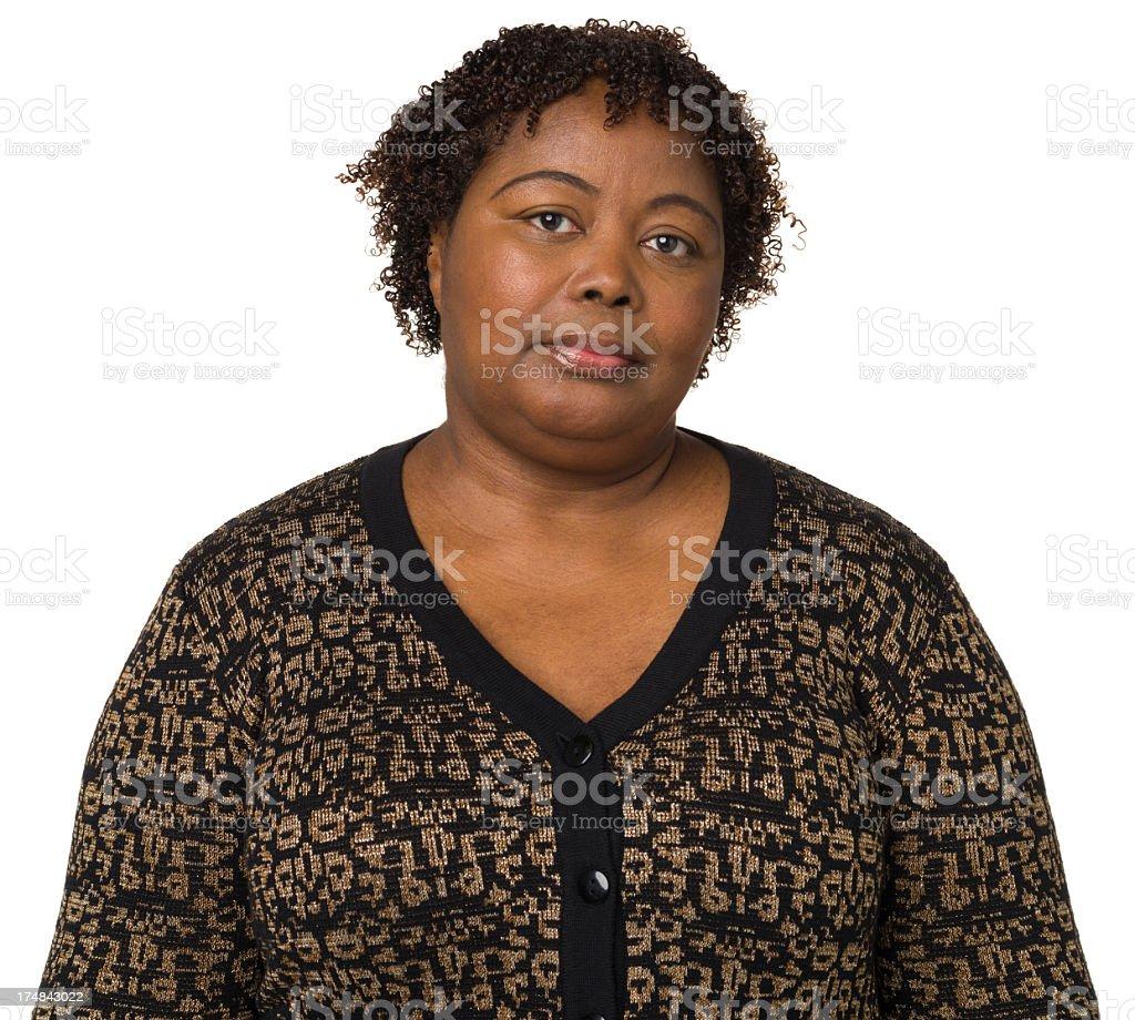 Serious Mature Woman Looking At Camera stock photo