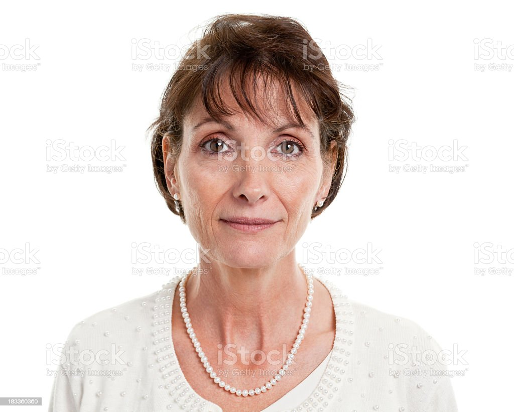 Serious Mature Woman Mug Shot Portrait stock photo
