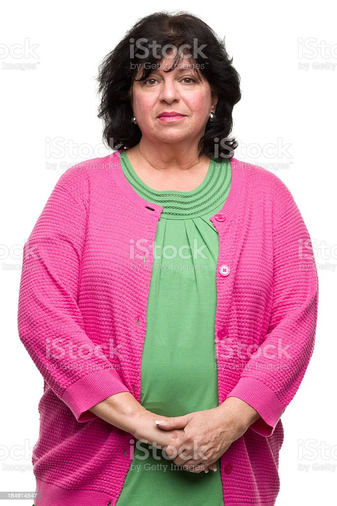 Serious Mature Woman Waist Up Portrait stock photo