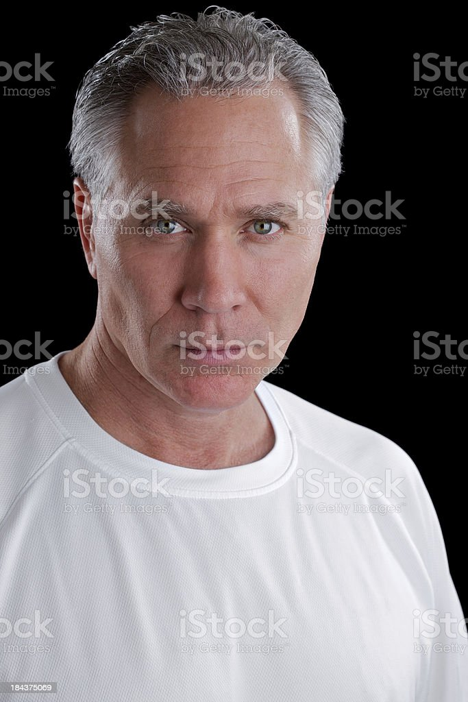 Serious middle age man with white shirt royalty-free stock photo