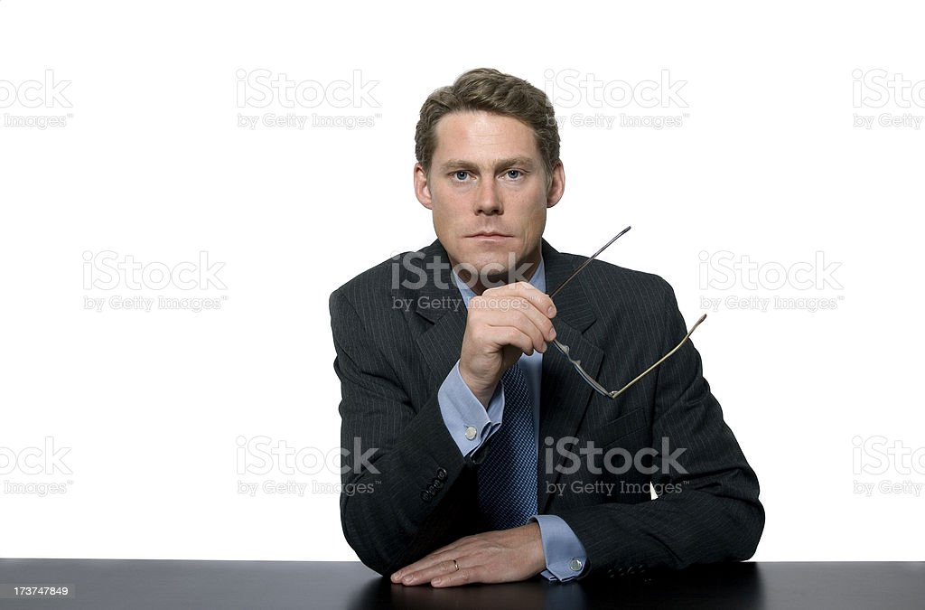 Serious Newscaster-type Man stock photo