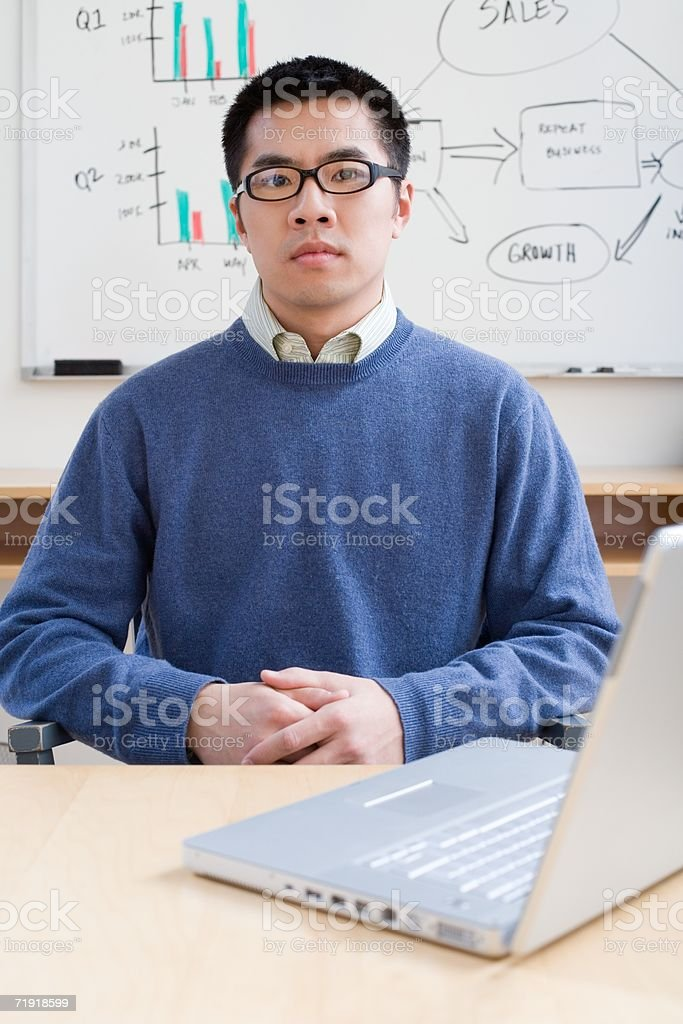 Serious office worker stock photo