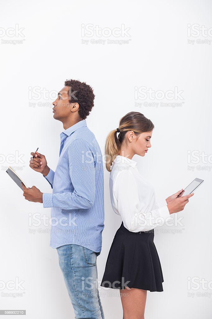 Serious office workers stock photo