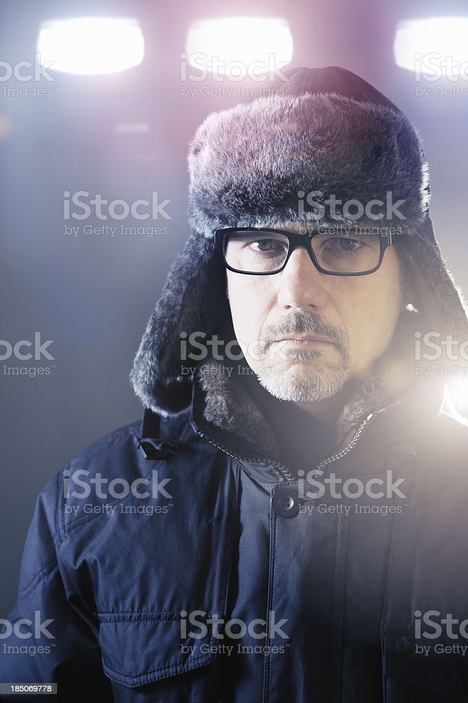 Serious Official on Winter Night royalty-free stock photo