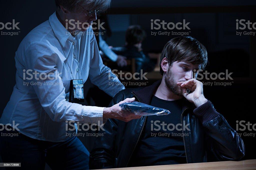 Serious policewoman presenting evidence stock photo