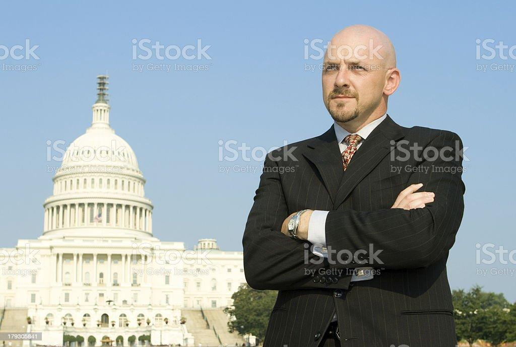 Serious Powerful Caucasian Businessman, Suit, Standing, US Capitol,  Washington DC royalty-free stock photo