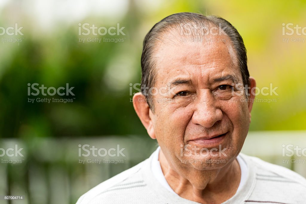 Serious senior man stock photo