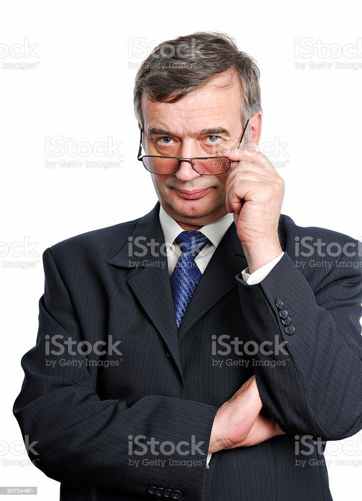 Serious senior man stock photo