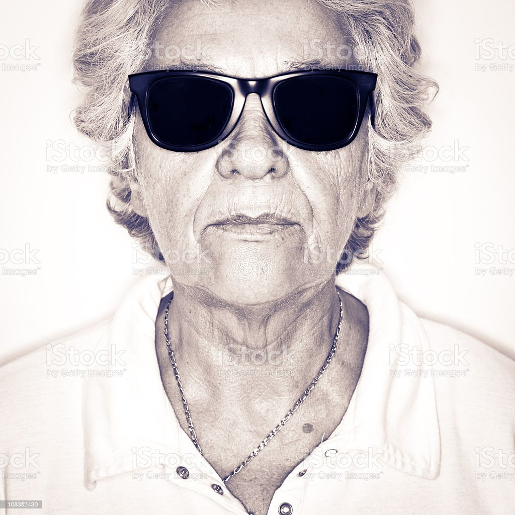 Serious Senior Woman Wearing Black Sunglasses Portrait royalty-free stock photo