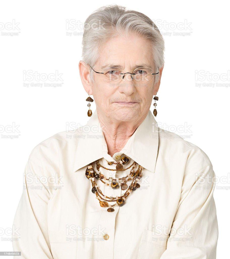 Serious Senior Woman With Glasses royalty-free stock photo