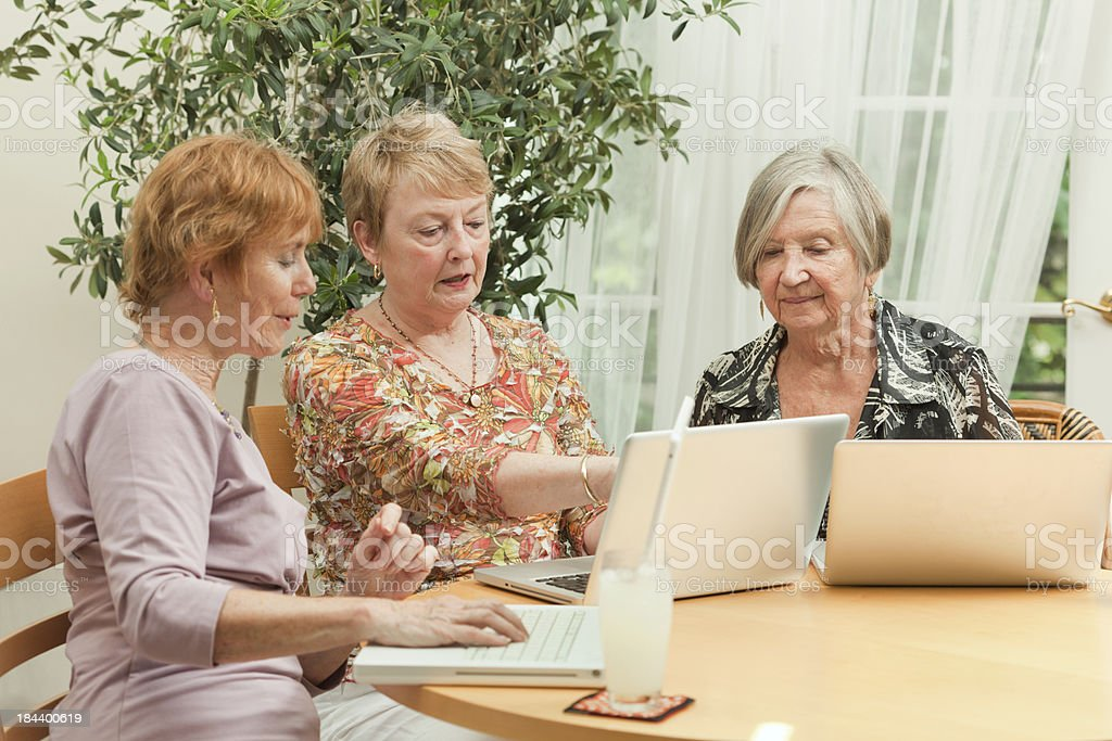 Serious Senior Women Learning Computer Together in Educational Class royalty-free stock photo